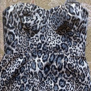 J CREW leopard strapless fitted dress.